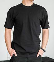 Базовая мужская футболка черная трикотажная с коротким рукавом Футболка хлопок