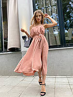 Женский летний сарафан длинный черный розовый персиковый мятный красный молочный 42-44 46-48 жатка