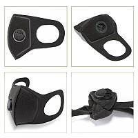 Многоразовая маска с респиратором Pitta MASK Черная (эластичный полиуретан)