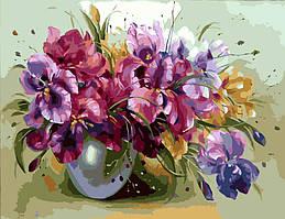 Картина рисование по номерам Идейка Ваза с ирисами KH1118 40х50 см Цветы, букеты, натюрморты набор для росписи