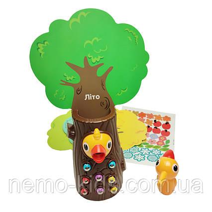 Магнитная игра Накорми дятла. Дерево с дятлом и магнитными червячками
