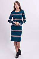 Прямое по фасону вязаное платье цвета морской волны