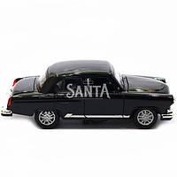 Машинка ігрова автопром 1:32-36 ГАЗ-21 метал, 14 см, чорний, світло, звук, двері відкриваються (75