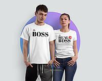 Парные футболки для пары с принтом the boss the real boss