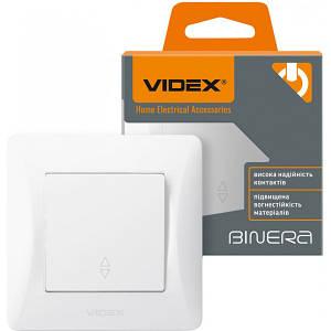 1-клавішний вимикач VIDEX Binera прохідний Білий (VF-BNSW1P-W)