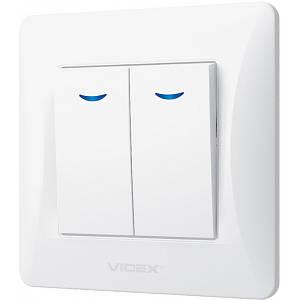 2-клавішний вимикач VIDEX Binera з підсвіткою Білий (VF-BNSW2L-W)