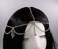 Серебряная Тиара на голову цепочка Кристаллы №60, фото 1