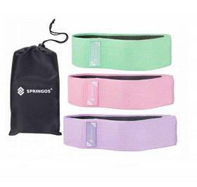Гумка для фітнесу та спорту тканинна Springos Hip Band 3 шт SKL41-238142