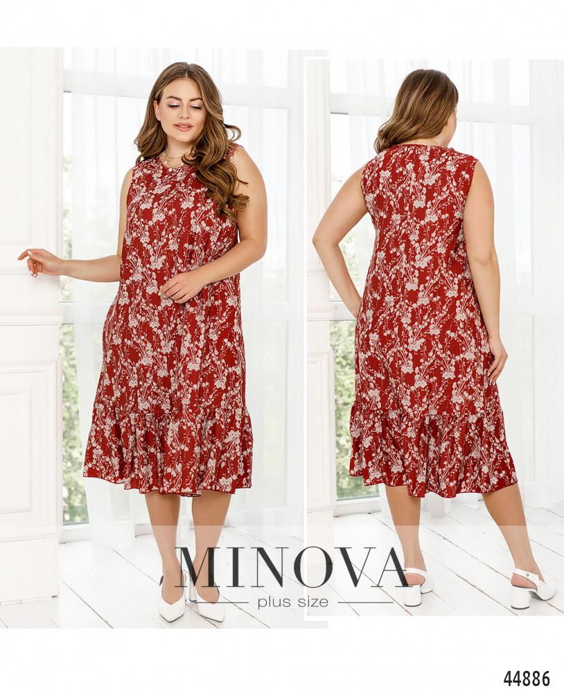 Жіночне літній червоне плаття великого розміру. Розмір: 46-48, 50-52, 54-56, 58-60, 62-64, 66-68