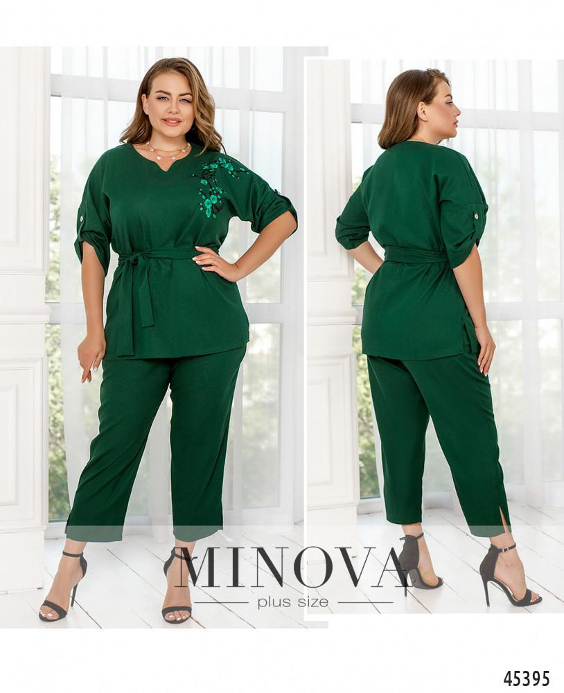 Елегантний лляної зелений костюм-двійка великого розміру. Розмір: 50-52, 54-56, 58-60, 62-64