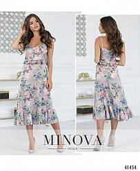 Элегантное серое платье на тонких бретелях с цветочным принтом. Размер: 42, 44, 46, 48