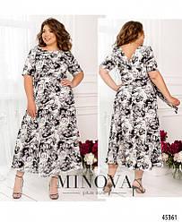 Платье-миди на запах с цветочным принтом большого размера. Размер: 48, 50, 52, 54