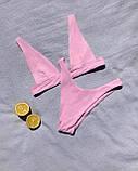 Роздільний купальник бікіні рожевий. Розміри S-XL.Купальник ліф трикутник і стрінги, фото 2