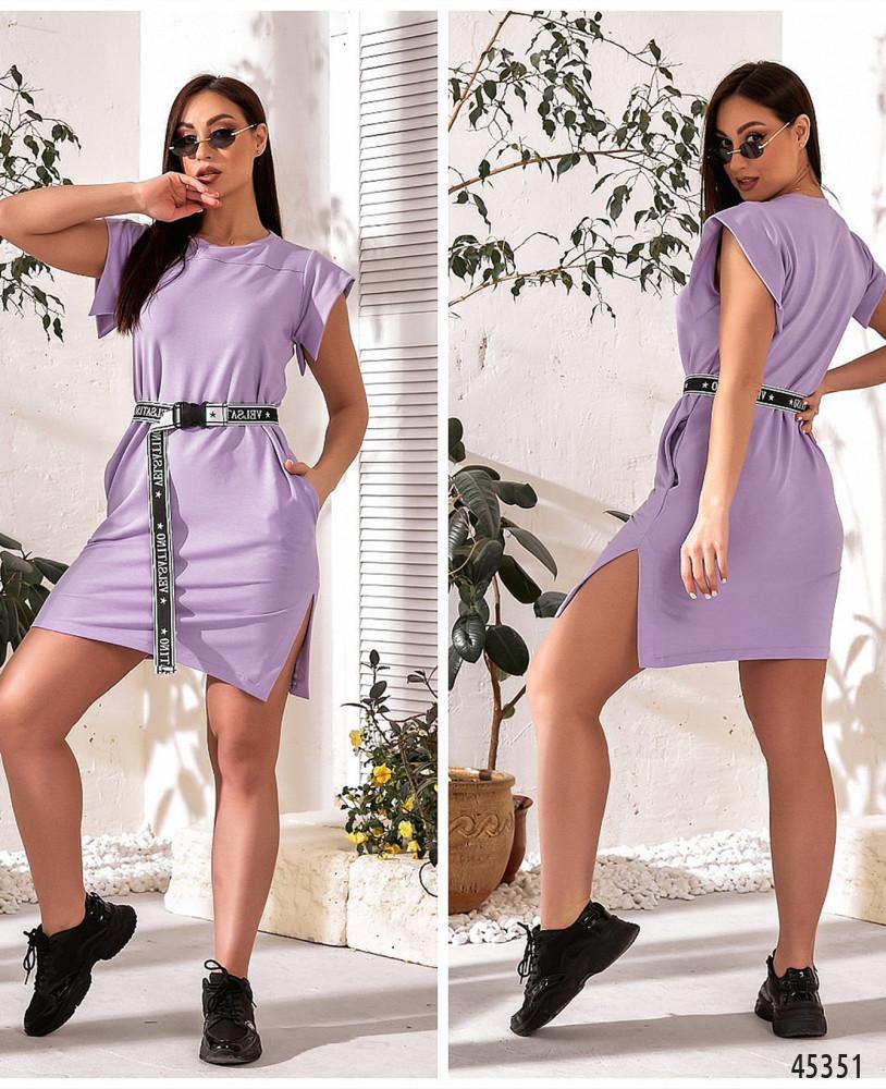 Трикотажне бузкове плаття в спортивному стилі великого розміру. Розмір: 46-48, 50-52, 54-56, 58-60