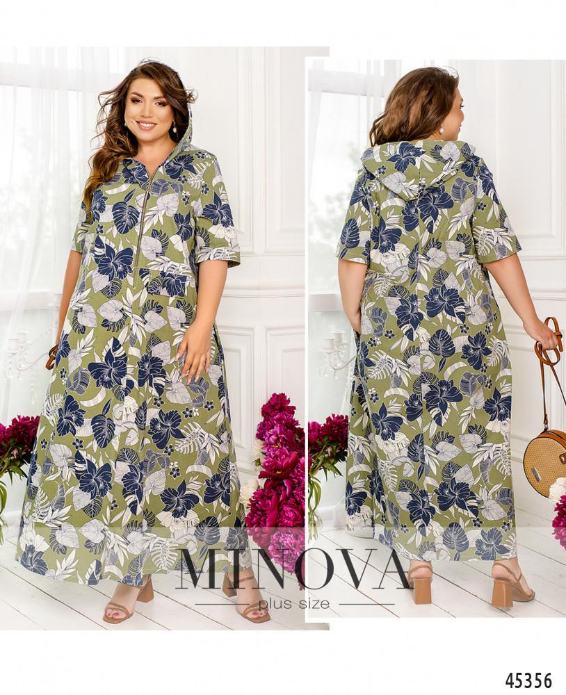 Літній лляне плаття максі кольору хакі великого розміру. Розмір: 54-56, 58-60, 62-64, 66-68