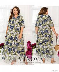 Летнее льняное платье макси цвета хаки большого размера. Размер: 54-56, 58-60, 62-64, 66-68