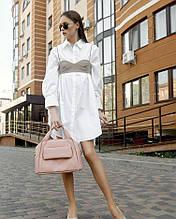 Модная большая женская сумка пудра из матовой экокожи через плечо, с длинным ремешком и двумя ручками пудровая