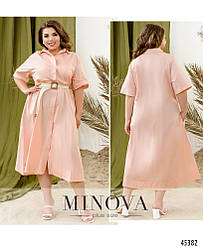 Лаконичное однотонное платье-рубашка большого размера. Размер: 48-50, 52-54, 56-58
