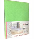 Махровые простыни на резинке натяжные однотонные 180х200 с наволочками двуспальные Разные цвета Турция Evibu, фото 4