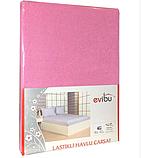 Махровые простыни на резинке натяжные однотонные 180х200 с наволочками двуспальные Разные цвета Турция Evibu, фото 7