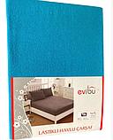 Махровые простыни на резинке натяжные однотонные 180х200 с наволочками двуспальные Разные цвета Турция Evibu, фото 10