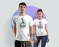 Парные футболки для пары с принтом mr right mrs always right