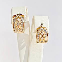 Сережки Xuping з медичного золота, білі фіаніти, позолота 18K, 25465
