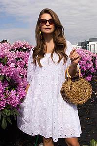 Модное молодежное платье из прошвы  44,46,48,50 размер