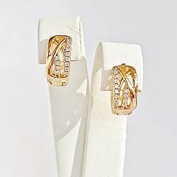 Сережки Xuping з медичного золота, білі фіаніти, позолота 18K, 25044