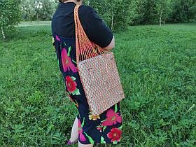 Сумка на плечо - Хлопковая сумка - Авоська - желто-красный