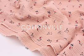 Муслін жатка Дрібні квіточки на пудрово-рожевому 135 см