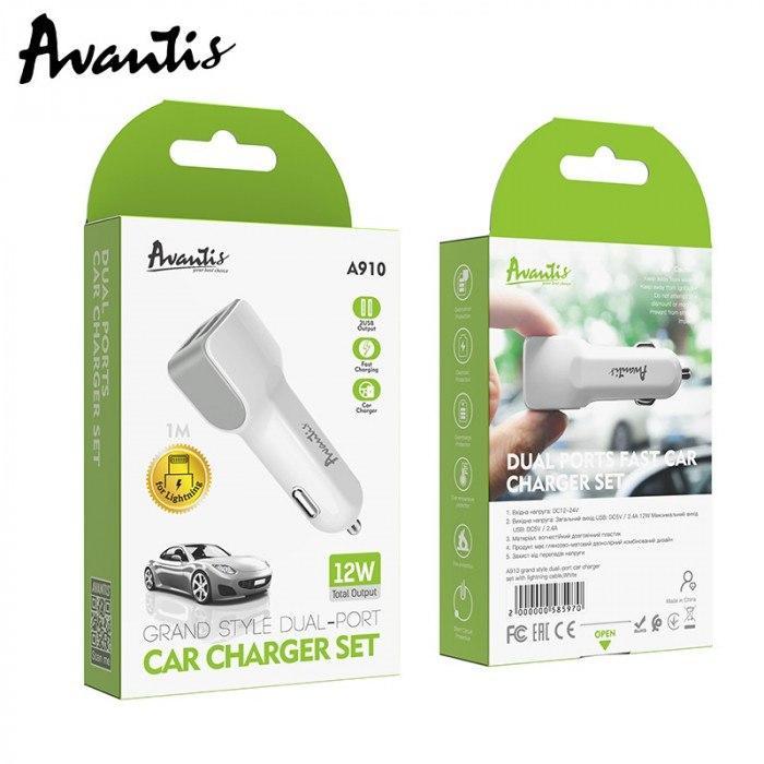 Зарядка автомобильная AVANTIS A910 Grand style 2.4А на 2 выхода + кабель Type-C 1м