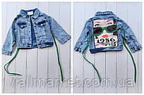 """Куртка джинсова підліткова модна з фото принтом на дівчинку 7-10 років """"MARI"""" купити оптом в Одесі на 7 км"""