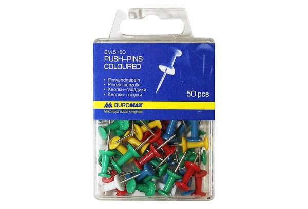 Кнопки-цвяшки кольорові BUROMAX, 50 шт. пласт. упак.