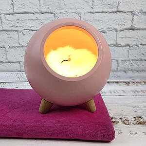 LED Каганець Сплячий кіт у будиночку рожевий 004917-1 1296295389