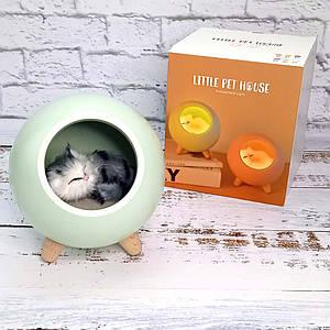 LED Каганець Сплячий кіт у будиночку зелений 004917-1 1296295390