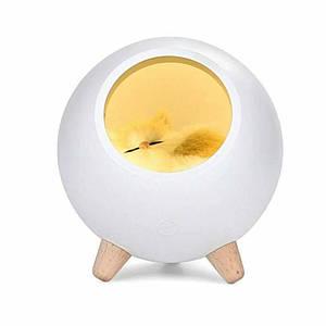 LED Каганець Сплячий кіт у будиночку білий 004917-1 1296295391