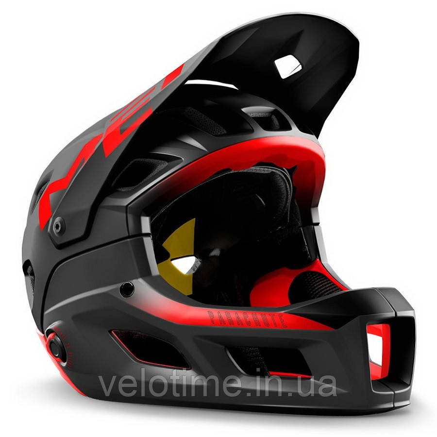 Шлем MET Parachute MCR MIPS CE  (BLACK RED | MATT GLOSSY L 58-61 cm)