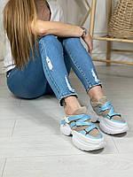 Жіночі кросівки об'єднані замша + шкіра , сірий+ блакитний, фото 1