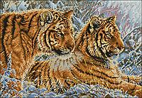 Схема вышивки бисером на габардине Тигры