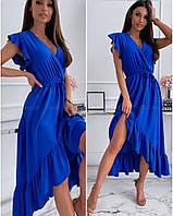 Платье легкое летнее женское синие с воланом 50-52