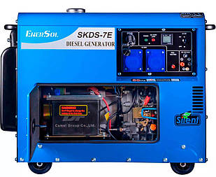 Генератор дизельний EnerSol SKDS-7EB, однофазний, 6.5 кВт, АКБ, AVR, електростартер, бак 16 л (skds-7eb)