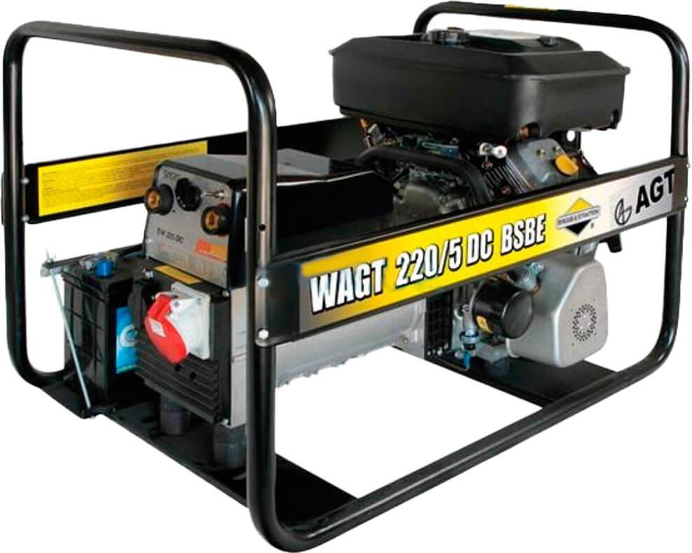 Генератор сварочный AGT WAGT 220 DC BSB SE, 5.2 кВт, бак 6.6 л, AVR, ручной старт (PFWAGT22DBS/E)