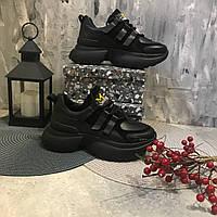 Жіночі кросівки натуральна шкіра , чорні, фото 1