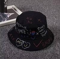 Летняя женская панама черная в стиле хип-хоп,Шляпа женская летняя в Украине,панама женская хлопковая