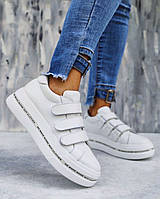 Кроссовки на платформе натурная кожа, на липучках , белые, фото 1