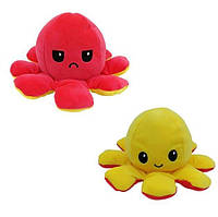 Мягкая игрушка Осьминог перевертыш двусторонний веселый + грустный 20 см FL335-2