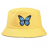 Стильная летняя женская панама желтая с бабочкой,панама женская хлопковая