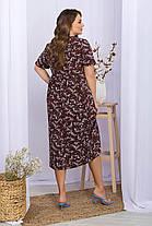 Літній вільне плаття з софта з квітковим принтом великі розміри XL, 2XL, 3XL, фото 2