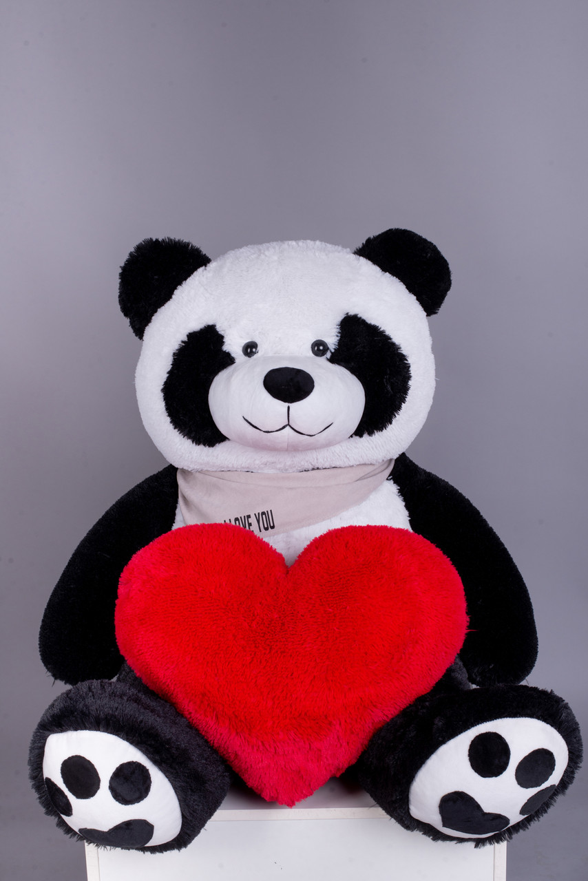 Ведмедик Плюшевий Yarokuz Панда з серцем 135 см